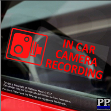 5 x In Car Camera Recording-RED-Window Stickers-87x30mm-CCTV Sign-Van,Truck,Taxi,Bus,Mini Cab,Minicab